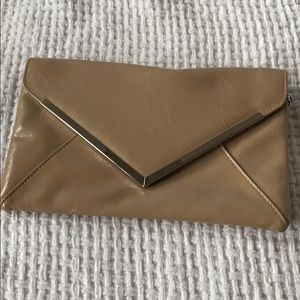 INC Beige Vegan Clutch with silver removable chain